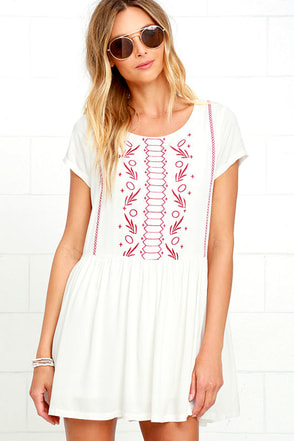 Crush-Worthy Ivory Embroidered Babydoll Dress at Lulus.com!