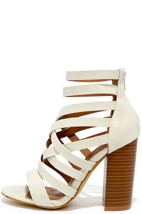 Queen of Kings White Caged Heels at Lulus.com!