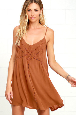 Amuse Society Vienna Brown Embroidered Shift Dress at Lulus.com!