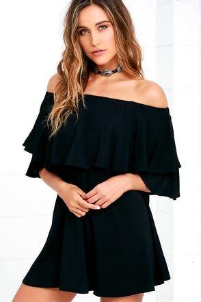 Riches and Regalia Black Off-the-Shoulder Shift Dress at Lulus.com!