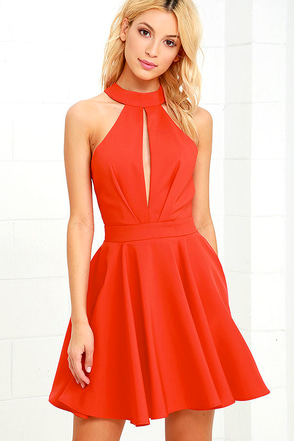 Smile Sweetly Coral Red Skater Dress at Lulus.com!
