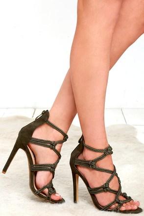Great Vine Olive Green Caged Heels at Lulus.com!