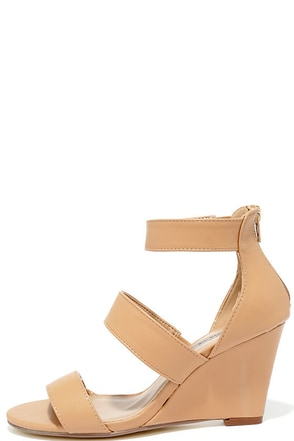 Lucky Me Tan Wedge Sandals at Lulus.com!