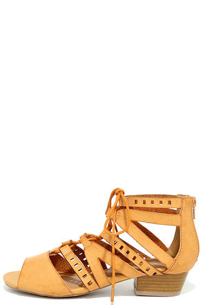 Hope and Wish Camel Lace-Up Sandals at Lulus.com!