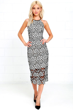 Keepsake True Love Black and White Lace Midi Dress at Lulus.com!