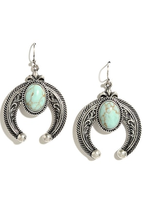 Crescent Country Turquoise and Silver Earrings at Lulus.com!