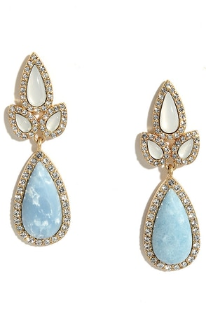Pop Style Blue Rhinestone Earrings at Lulus.com!