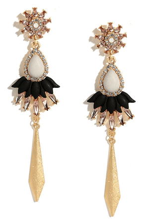 Fancy Frosting Gold and White Rhinestone Earrings at Lulus.com!