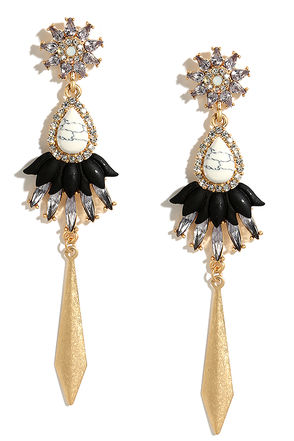 Fancy Frosting Gold and Grey Rhinestone Earrings at Lulus.com!