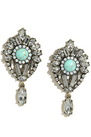 Feeling Fab Gold and Turquoise Rhinestone Earrings at Lulus.com!