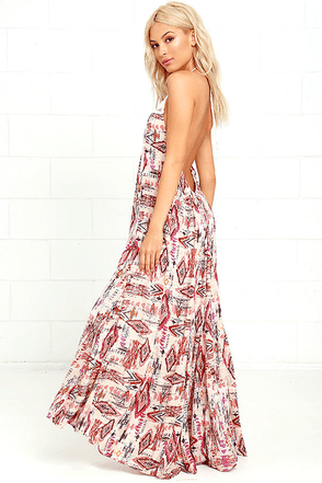 Billabong Shine On Beige Print Maxi Dress at Lulus.com!