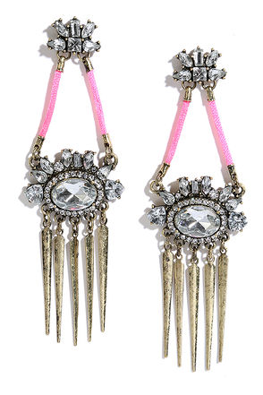 Daring Date Gold and Pink Rhinestone Earrings at Lulus.com!
