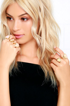 Lookin' Good Gold and Iridescent Ring Set at Lulus.com!