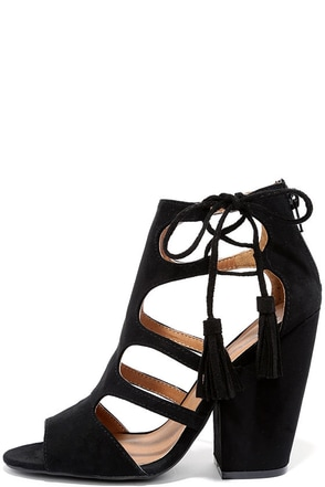 Request the Best Black Suede Caged Heels at Lulus.com!
