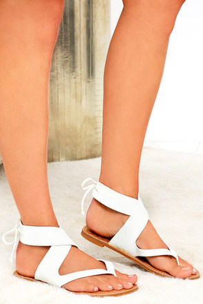 Chic White Sandals Thong Sandals Ankle Wrap Sandals