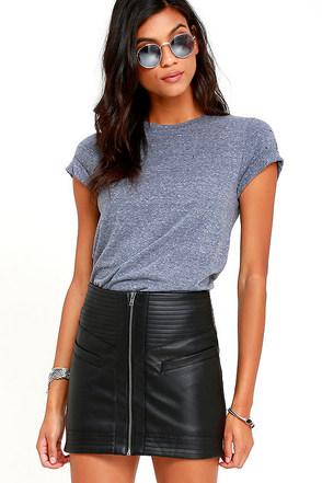 Jack by BB Dakota Collins Black Vegan Leather Mini Skirt at Lulus.com!