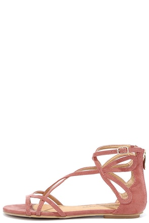 Chinese Laundry Penny Sunset Rose Suede Gladiator Sandals at Lulus.com!