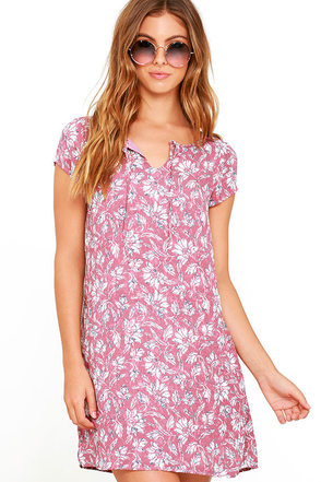 Jack by BB Dakota Zacharias Mauve Floral Print Shift Dress at Lulus.com!