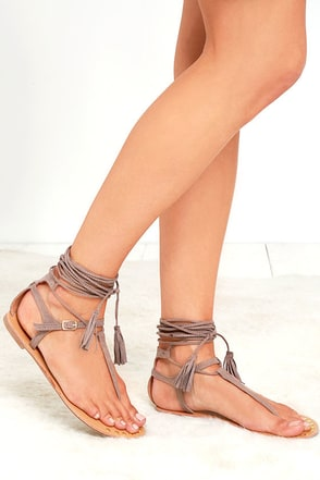 Fairy Dust Taupe Suede Lace-Up Thong Sandals at Lulus.com!