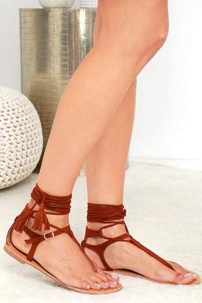 Fairy Dust Whiskey Brown Suede Lace-Up Thong Sandals at Lulus.com!