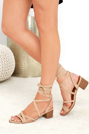 Taken To Heart Natural Nubuck Lace-Up Sandals at Lulus.com!