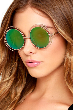 Planet Pluto Gold and Green Round Sunglasses at Lulus.com!