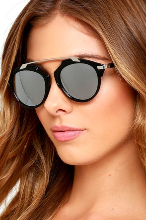 Extreme Temperatures Black and Silver Mirrored Sunglasses at Lulus.com!