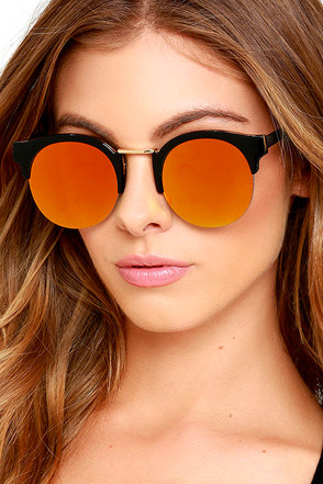 Live Your Life Black and Orange Mirrored Sunglasses at Lulus.com!