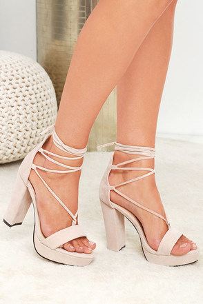 I Slay Nude Suede Lace-Up Platform Heels at Lulus.com!