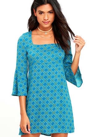 Jack by BB Dakota Atticus Teal Blue Print Shift Dress at Lulus.com!