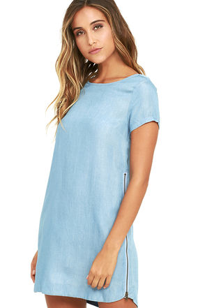 That's All Right Blue Chambray Shift Dress at Lulus.com!