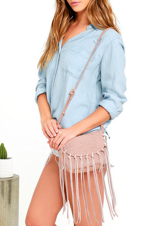 Favorable Circumstances Blush Fringe Purse at Lulus.com!