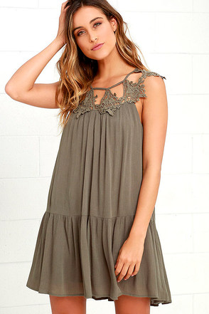 Unforgettable Olive Green Lace Dress at Lulus.com!
