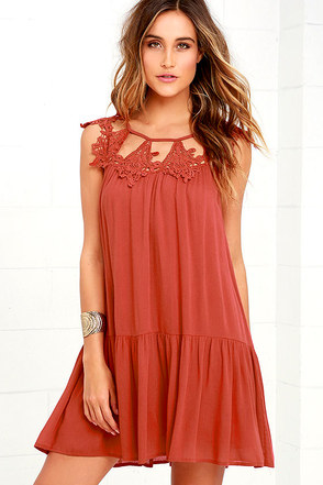 Unforgettable Rust Red Lace Dress at Lulus.com!
