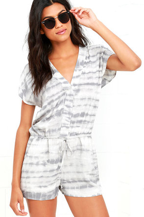 Cloud Formations Grey Print Romper at Lulus.com!