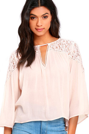 Midnight Flight Blush Pink Lace Top at Lulus.com!