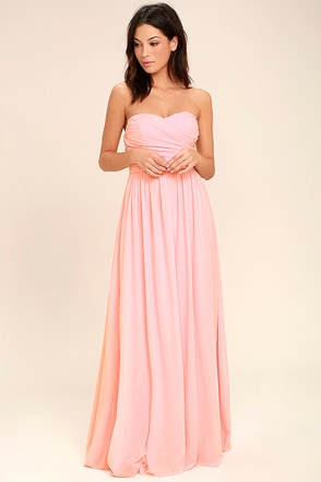 All Afloat Blush Pink Strapless Maxi Dress at Lulus.com!