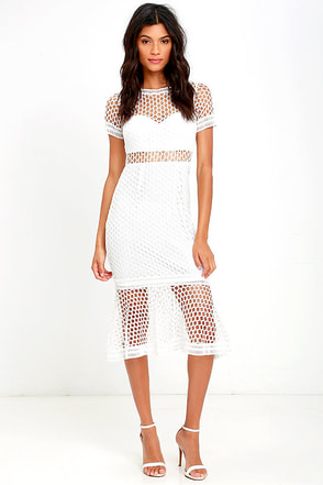 American Beauty Ivory Lace Midi Dress at Lulus.com!