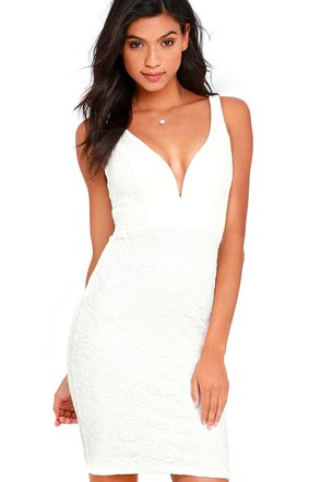 Kiss Me Slowly White Lace Bodycon Dress at Lulus.com!