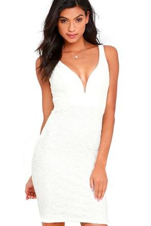 Kiss Me Slowly White Lace Bodycon Dress at Lulus.com!