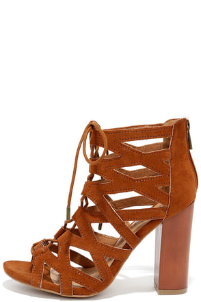 Eagerly Enacted Chestnut Suede Caged Lace-Up Heels at Lulus.com!