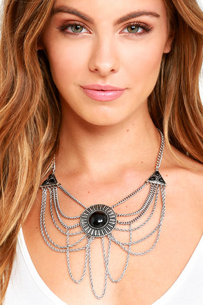 Catch Your Gaze Black and Silver Layered Necklace at Lulus.com!