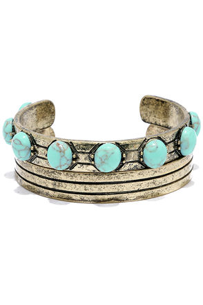 Aruba Ready Gold and Turquoise Bracelet Set at Lulus.com!