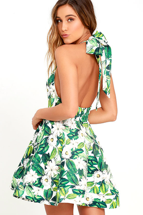 Vintage Blooms Green Floral Print Skater Dress at Lulus.com!