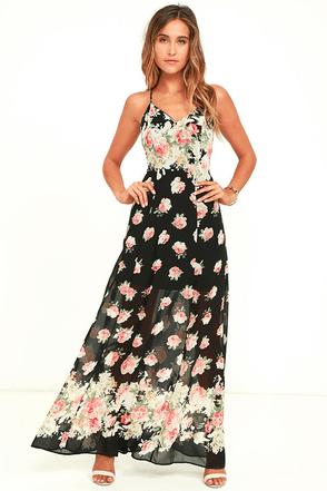 Lovely Black Dress Floral Print Dress Maxi Dress 66 00