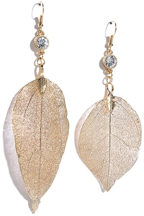 Quick to Fall Gold Rhinestone Leaf Earrings at Lulus.com!