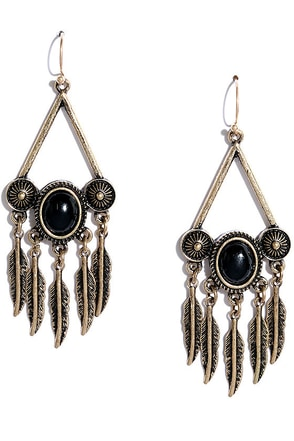 Ascend Black and Gold Earrings at Lulus.com!