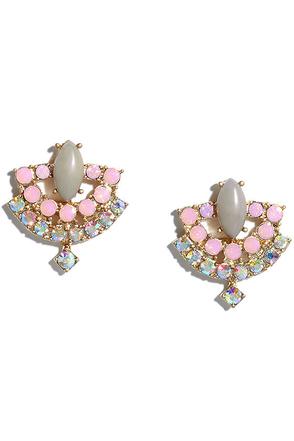 My Sharona Gold and Grey Rhinestone Earrings at Lulus.com!