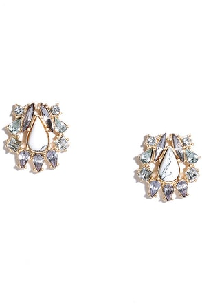 Fondly Reminiscing Gold and White Rhinestone Earrings at Lulus.com!