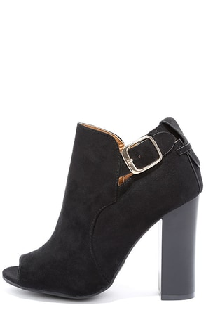 Walk and Talk Black Suede Peep-Toe Booties at Lulus.com!